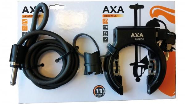 """AXA Schlossset """"Solid Plus""""; SB-verpackt, nicht abziehbarer Schlüssel, inkl. Einsteckkabel """"Newton"""" (Länge: 150cm, Ø: 10mm), mit Plug-In Funktion, sch"""