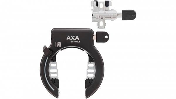 """AXA Rahmen- und Akkuschloss-Set """"Solid Plus""""; Für Rahmenakku, Schlüssel nicht abziehbar, gleichschließend, mit Plug-In Funktion, schwarz; Für Bosch 2"""