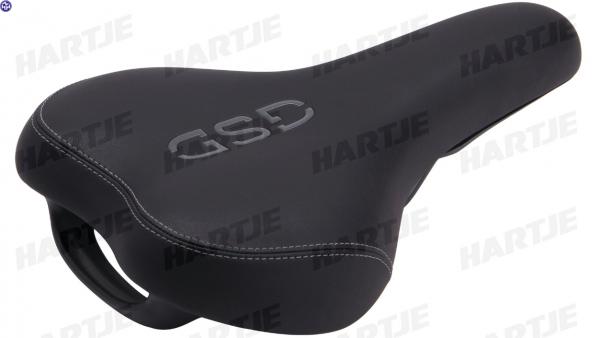 TERN Sattel, schwarz / grau mit GSD-Logo, mit Handgriff, passend für GSD
